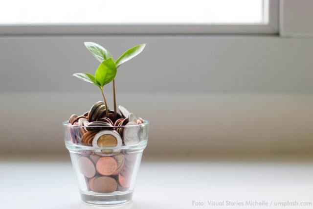 Ein Glas ist gefüllt mit Euro-Münzen. Daraus wachsen zwei Keimblätter. Im Hintergrund erkennt man ein Fenster.